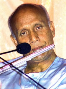 Sri Chinmoy plays music for meditation